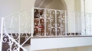 artistic white wrought iron hand railing  - General Metal Works Malta