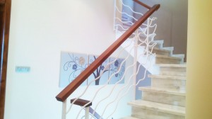 rustic hand railing with wooden hand rest  - General Metal Works Malta