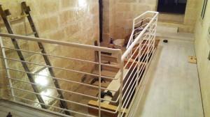 modern round bars hand railing white  - General Metal Works Malta